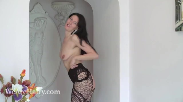 Mature slim hairy asses video Nimfa mannay strips off her black stocking to play