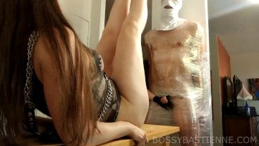Busting His Balls For A Footjob with Mistress Evangeline Ducharme