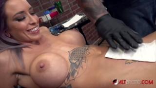 Vanessa Skye deepthroats a cock after getting tattooed