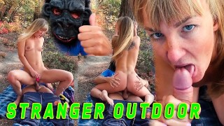 Outdoor Sex. Unexpected fuck with a stranger in the forest. Russian
