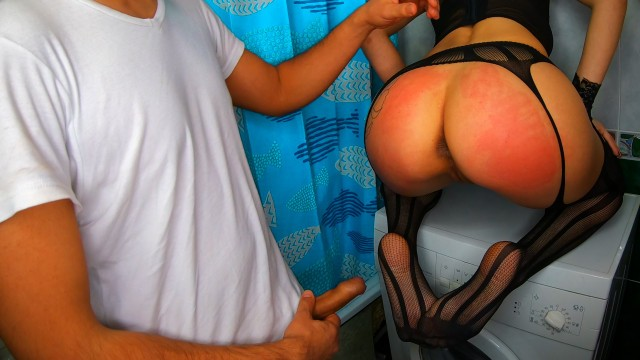Bare ass - Indian daddy spanked my bare ass and fucked me on the washing machine