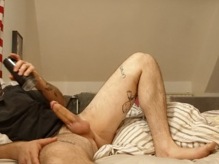 Luchador pummels Fleshlight with his big thick cock and fills it with cum
