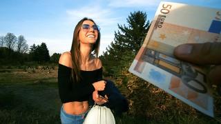 Hot babe sucks strangers dick for extra money in public