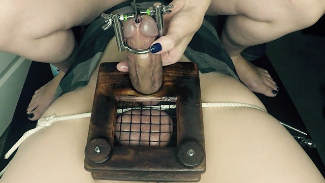 Femdom ball piercing Femdom cbt stretching and sounding his cock while in the waffle maker