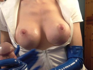 Latex Nurse Cumshot video: Hot FemDom Nurse Latex Gloves Extreme Edging with explosive Cumshot