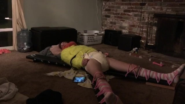 Girls in sweater bondage - Sweater diaper sissy takes a nap trying not to piss herself.