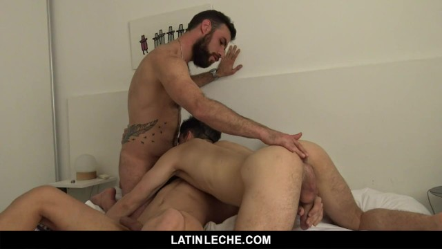 Gay orgy studs mobile - Latinleche- cute latino boys seduce a hairy stud in a steamy threesome