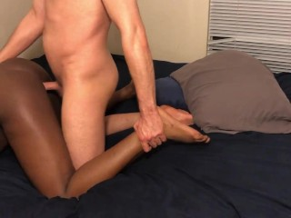 Black Teen Takes Whte Dck From Behnd Wth Creampe