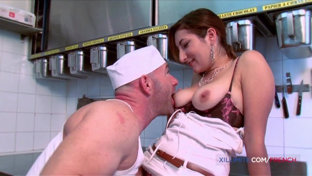 Kitana baker lesbian - French big tits milf fucked in the ass by baker man