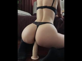 Cute girl in stockings riding big dildo – Mini Diva