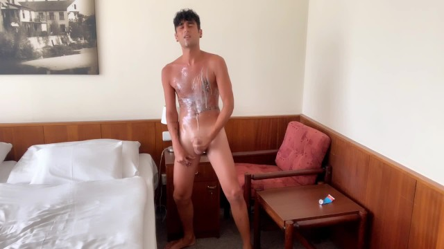 Gay escort middle east - Middle eastern boy covered in sweet cream quick jerks off and cums huge