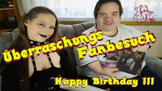 Birthday Fun - German Porn Star Nadine Cays Surprises Midget Fan