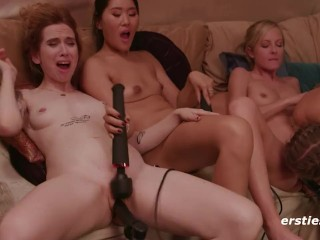 Four Stunning Amateur Babes Take on the Fuck Machine