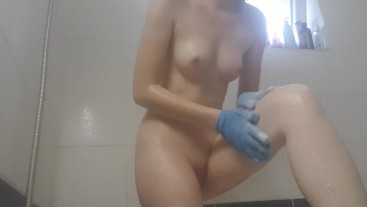 A little playtime in the shower before work