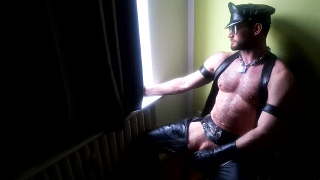 Gay leather manchester - Muscle hunk in leather, cap, chaps, gloves, wanking paul europe