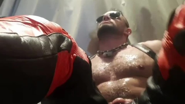 Gay leather muslim Preview - leather dainese bike pants muscle hunk flexes in oil paul europe