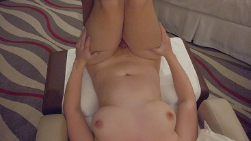 Thick Thighs Pale Busty Curvy Redhead ThighJob & Hairy Ginger Bush Pussyjob
