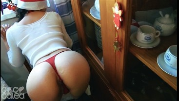 Naughty Christmas Teen in Socks Gets Fucked Standing up and Cum on Her Ass