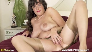 Busty brunette Kate Anne masturbates in vintage nylons girdle and mules