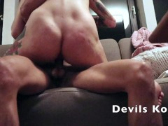 A young blonde fucks hard in her mouth between her boobs and pussy.