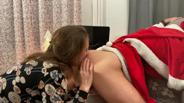 Sex santa claus - Cute blonde milf fucks santa claus - rimjob and strapon sex