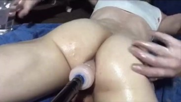Oiled ass anal fucked deep with fuck machine