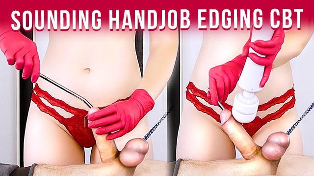 Adult video cbt Urethral sounding bound cock handjob in gloves to cum edging cbt era