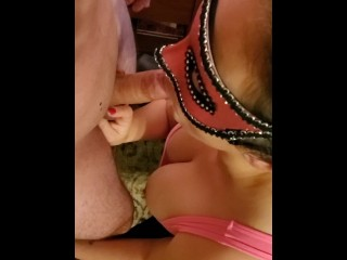 Slut n leather sucks and takes creampe