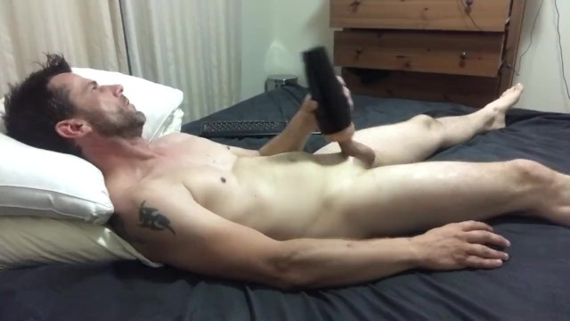 Fleshlight porn movie - Horny straight aussie guy moans watching porn and fucking a fleshlight
