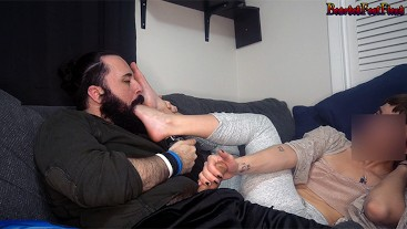 Young Festival Girl in Ballet Flats Gives Foot Smothering Handjob Cumshot