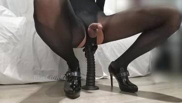 Crossdresser anal masturbates using a 30cm long dildo multiple cumshots