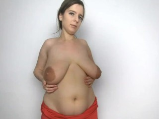 Lena Rose in Red Dress striping and showing her huge natural boobs