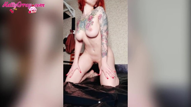 Big boob toy boysfood - Redhead girl passionate food play - jerk off tight pussy - katty grray
