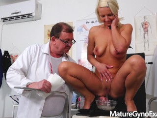 Hot blonde Luci Angel dirty gyno exam and fucking machine therapy