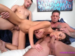 Asian spinner asks for three cocks can she take it ?