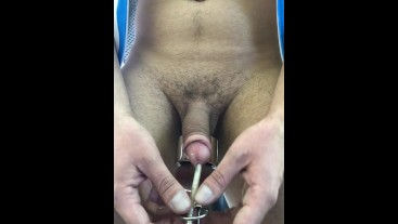INSERTING URETHRAL PLUG without Lube (only Saliva) ** at the Gym **