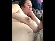 Masturbating getting myself off with vibrator and watching husband jerk off