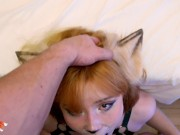 Redhead Deep Sucking Cock Lover after College - Closeup