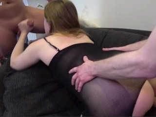 Threesome wth Chubby Bg Tt Redhead Mlf and Two Bg