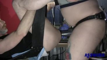 Tattooed Milf Plows Slams His Ass Using A Strapon With Fat Dildo