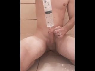 Young boy enema watter syringe in penis...