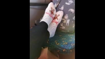 Socks and Feet Tease on The Train