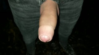 Thick pulsating cock cumming 2 times in one evening outdoor
