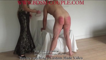 Miss M. gives slave p. a GOOD CANING!!