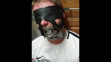 Duct taped and roped up man used by femdom 2