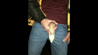 Twink fills cum filled condom even more and SWALLOWS all that cum