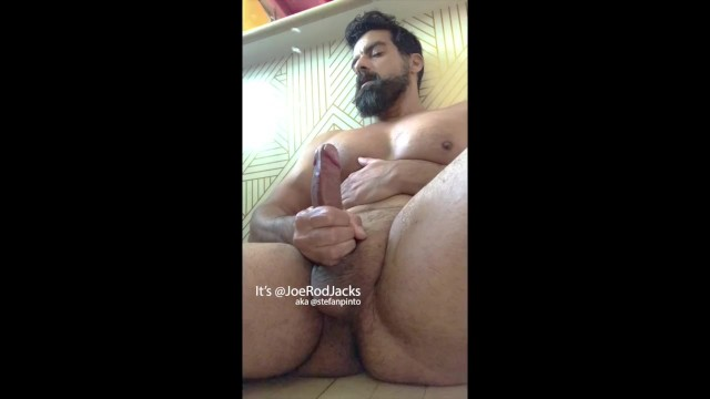 Cock photo uncut Bearded muscle guy with uncut cock shoots massive cum fountains