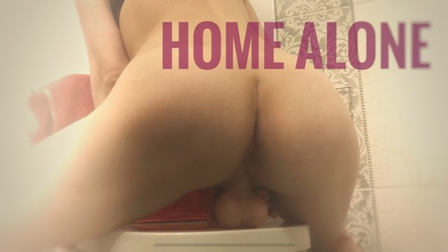 Gray and white striped round beetle - Round ass babe rides dildo in bathroom