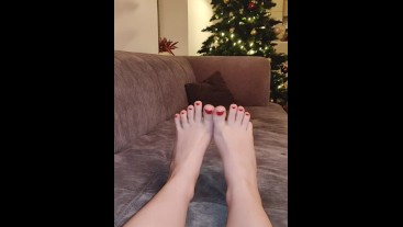 Mistress shows her New year feet with Christmas Tree