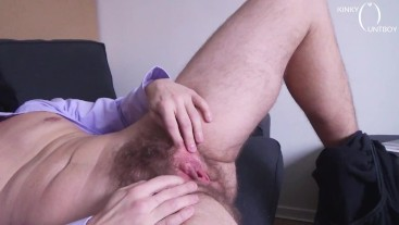 FTM exposes his hairy holes to you in a waiting room
